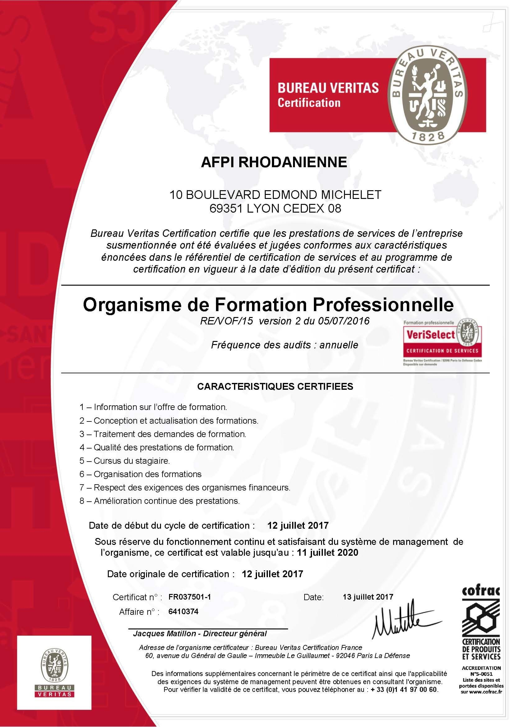 Certification AFPI rhodanienne